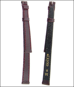 Gucci 10 mm Burgundy Lizard Watch Band / Strap ID.1179