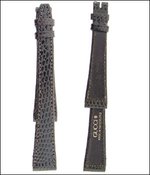 Gucc 15mm Lizard Brown Watch Band ID.1183