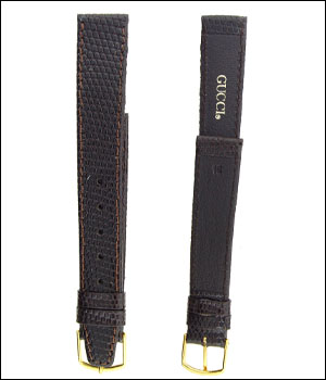 Gucci 16mm Brown Lizard Watch Band ID.1190