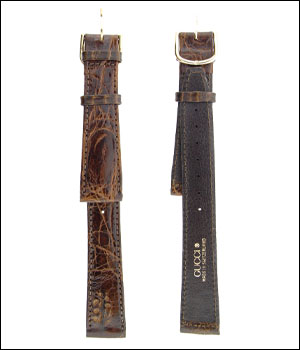 Gucci 17mm Brown Croco Watch Band ID.1192