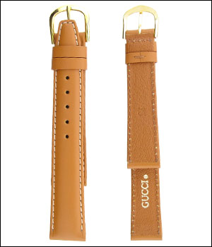 Gucci Tan 16mm Watch Band with white stitches ID.1193