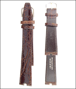 Gucci Brown 18mm Croco Watch Band ID.1197