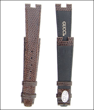 Gucci 18mm Lizard Brown Watch Band ID.1207