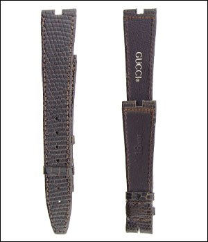 Gucci 18mm Brown Lizard Watch Band ID.1209