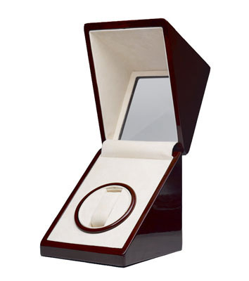 Cherry Oak Glossy Single Watch Winder - Internal timer